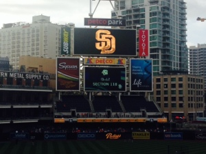 The scoreboard at Petco was sated and one section didn't register properly, perhaps it had been hit in the past.