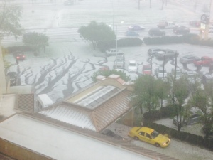 Hail blanketed the streets around the Doubletree
