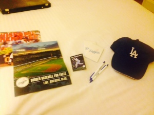Dodgers fan services provided us with a goodie bag