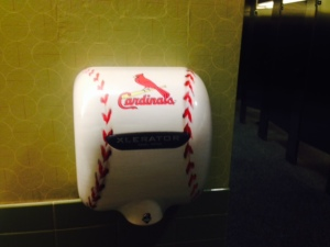Even Hand dryers in the ladies rooms reflect the Cards identity