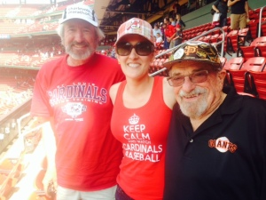 Bert and a couple of radiant Cardinals fans. Dad and daughter sharing a love of the game