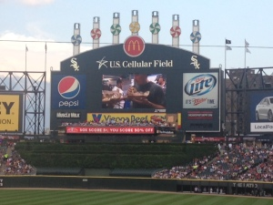 The scoreboard. Fireworks go off next to the board when they get a home run or victory.