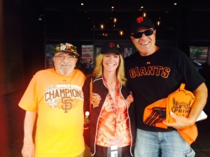 Bert,Eve, and Gustavo (absent son Lucas) who talked Giants baseball with us at breakfast and postgame