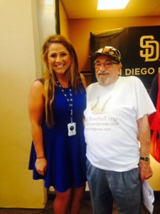 Bert with Stacey Hallam, a Padres account specialist, who was able to play problem solver