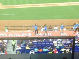 This Marlins dance team performed on the field and on top of the dugout out with great dance and gymnastic moves