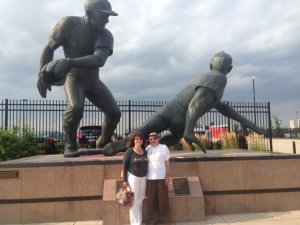 Le Anne and Bert in front of statue on the Way to Citizens Bank Park