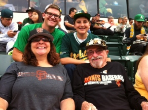 Frankie and Reece enthusiastic A's fans with Le Anne and Bert