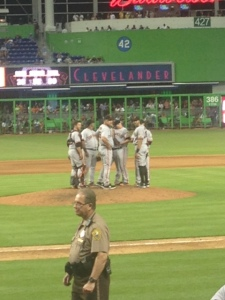Giants pow wow at the mound.
