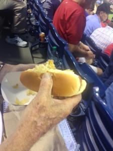 We had hot dogs with sauerkraut and mustard. Bert's standard ball park fare.