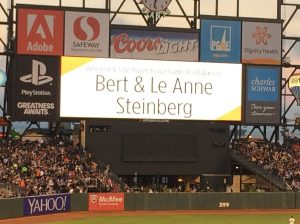 "Who expected ""Wecome and safe travels to Giants Road Warriors Bert and Le Anne Steinberg""?"