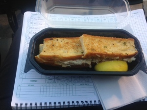The crab sandwich is a yummy treat at AT&T. It was a nice bonus to have it delivered.