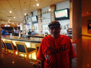Bert at Caesars club in his new Giants jersey