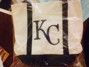 KC tote bag that guest relations provided us to carry things on the 81 for 93 adventure