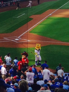 It was Nebraska day at the stadium and the Royals and Husker mascots got together pre-game