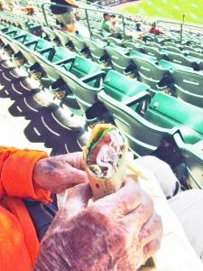 Bert enjoys a turkey wrap