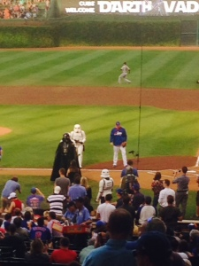 Darth headed toward Cubs dugout