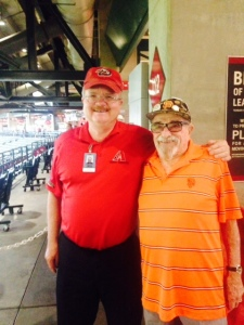 Bert and the friendly usher at Chase field