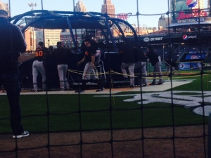 This was our view watching batting practice.