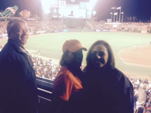 Our friend Mike and Gina who have cheered Giants on all season long bring their daughter to a World series