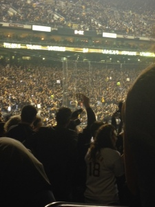 Fans cheer on the Bucs wildly waving towels and flags